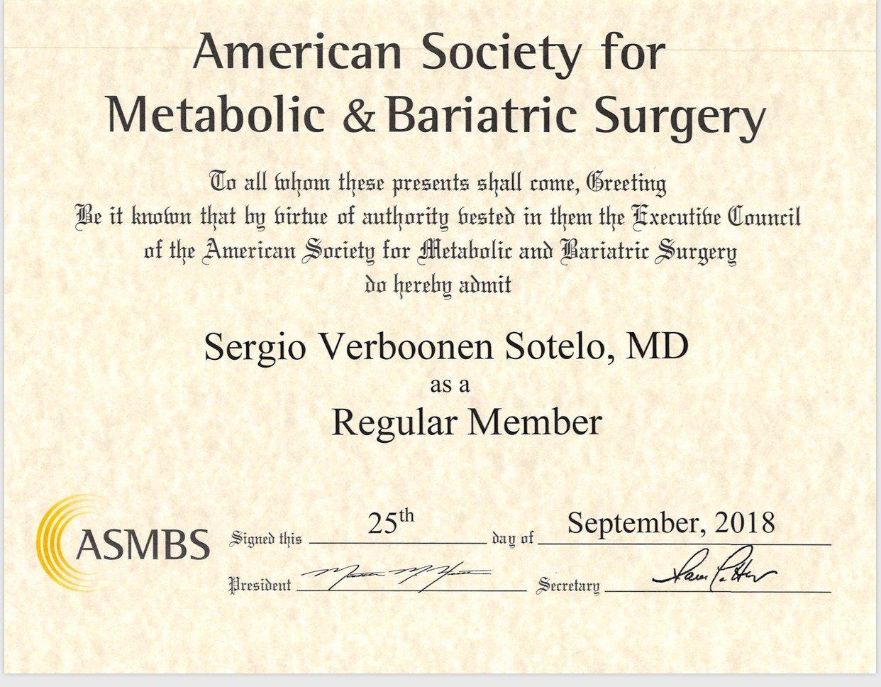 Dr Sergio Verboonen's ASMBS Certification